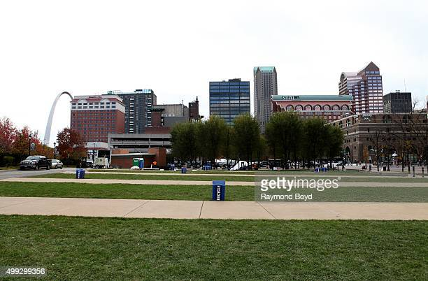 View of downtown St Louis photographed from the Edward Jones Dome grounds in St Louis Missouri on November 15 2015
