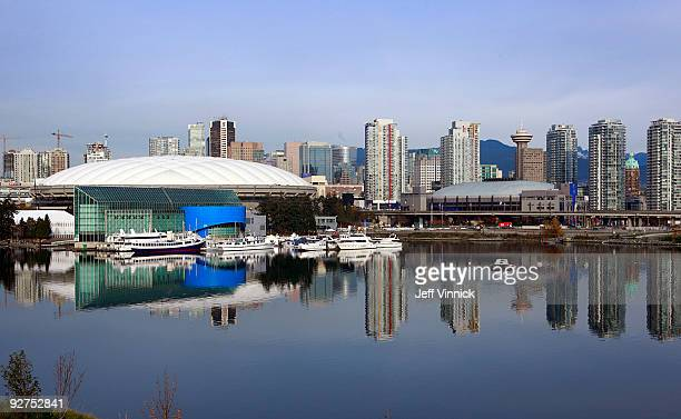 View of downtown Vancouver from the 2010 Athletes Viilage showing False Creek, Canada Hockey Place and BC Place November 4, 2009 in Vancouver,...