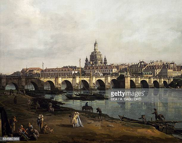 View of Dresden from the right bank of the Elbe upstream from the bridge of Augustus ca 1750 by Bernardo Bellotto known as Canaletto oil on canvas...