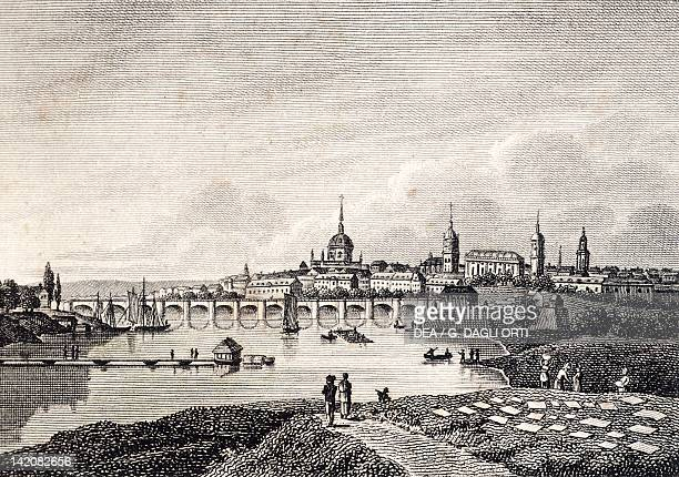 View of Dresden Germany 18th Century Print