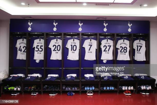 View of dressing room of Tottenham Hotspur and new Nike jersey before the International Champions Cup match between Tottenham Hotspur and Manchester...