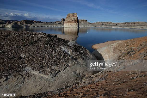 A view of dried waterway off of Lake Powell at Lone Rock Camp on March 29 2015 near Big Water Utah As severe drought grips parts of the Western...
