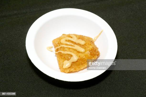 A view of Drive Change's dish DeepFried Ravioli served during Street Eats hosted by Ghetto Gastro at Industria on October 14 2017 in New York City
