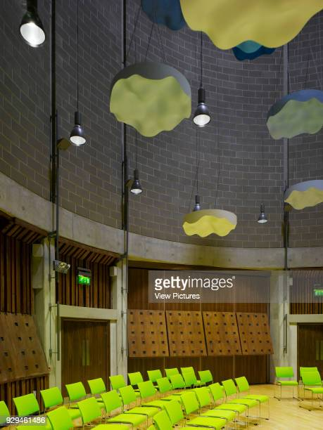 View of drum interior showing accoustic baffles in place Irish World Academy of Music and Dance Limerick Ireland Architect Daniel Cordier 2010