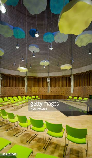 View of drum interior showing seating for concert and sound dampers Irish World Academy of Music and Dance Limerick Ireland Architect Daniel Cordier...