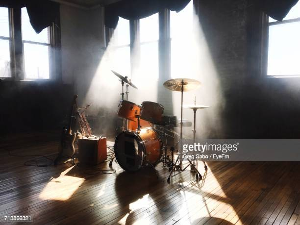 view of drum kit - percussion instrument stock photos and pictures