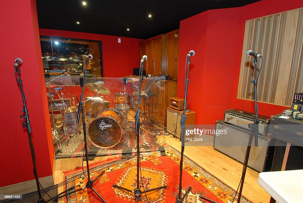 A view of drums, microphones and amplifiers in the live room at the Paint Factory recording studio on 22nd October 2008 in the United Kingdom.