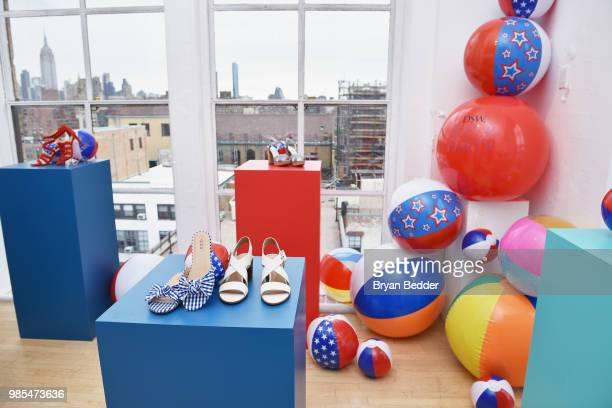 A view of DSW shoes are seen on display during DSW Block Party hosted by Olympians Adam Rippon and Mirai Nagasu on June 27 2018 at Ramscale Studio in...