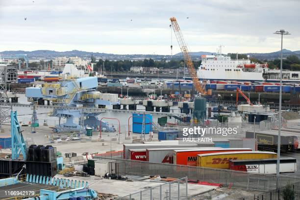 A view of Dublin Port in Ireland where Ireland's Taoiseach prime minister Leo Varadkar visited on September 8 to view Brexit infrastructure and...