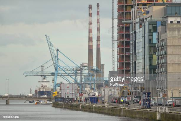 A view of Dublin's docklands area with Dublin harbour and Poolbeg power station's chimneys On Wednesday 25 October 2017 in Dublin Ireland