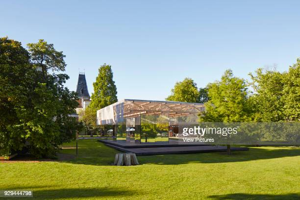 View of Dulwich Picture Gallery's Summer Pavilion nestled in between the garden's trees Dulwich Picture Gallery Pavilion London United Kingdom...