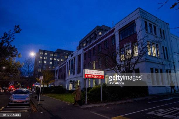 View of Dunedin Public Hospital where the accused assailant remains under police guard on May 10, 2021 in Dunedin, New Zealand. Four people have been...