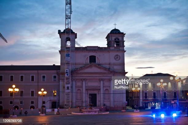 View of Duomo Church in LAquila, Italy, on April 6, 2020 during the 11th Anniversary of 2009 LAquila Earthquake. On each anniversary over the last...