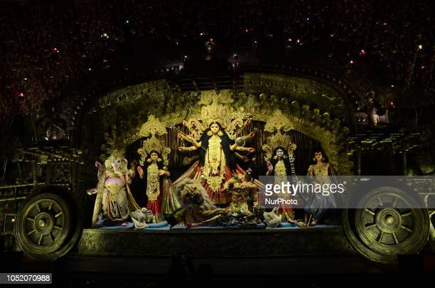 View of Durga idol and Puja pandal or temporary platform of a community Durga Puja pandal is decorated in Kolkata India on Saturday 13th October 2018...