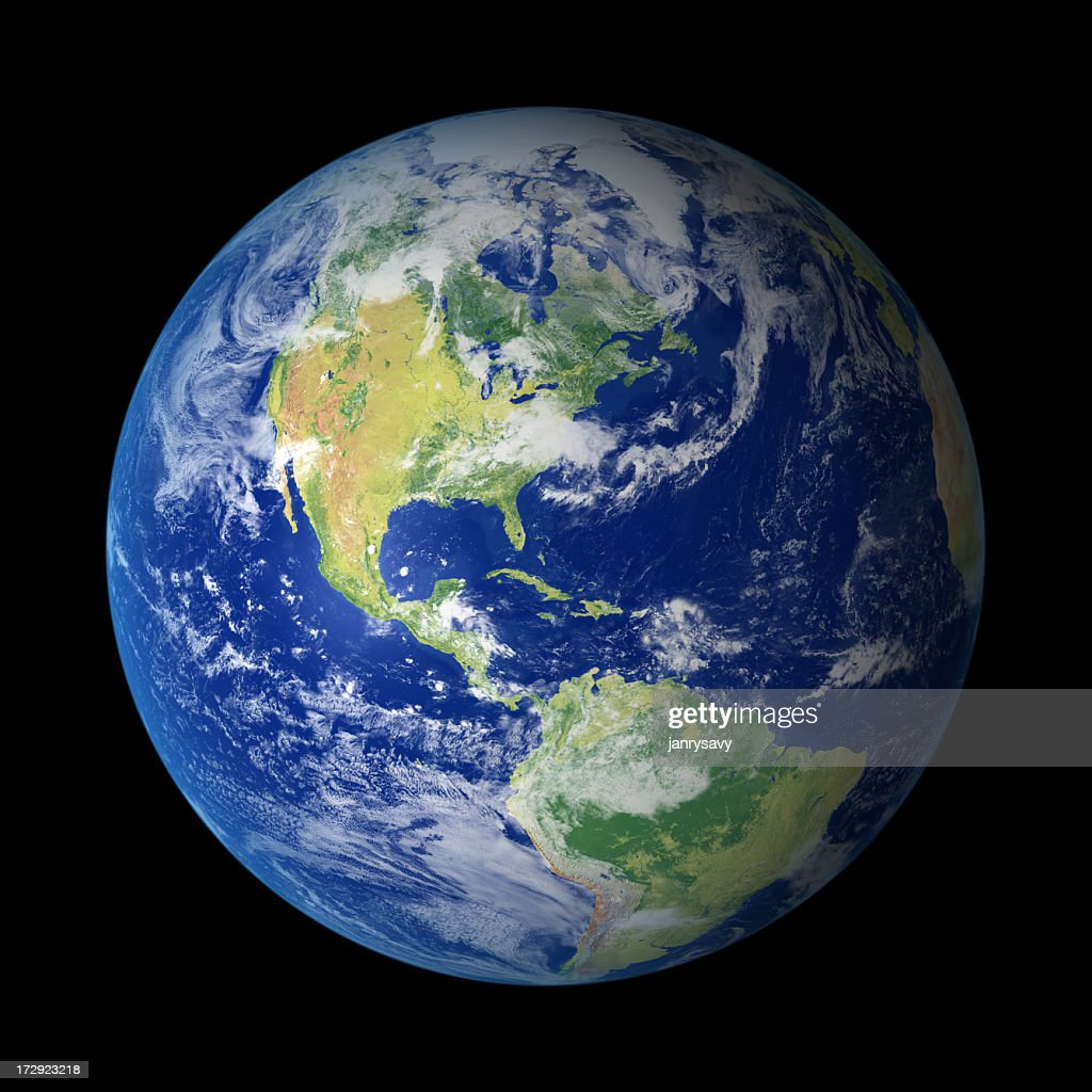 View of Earth from outer space with North America visible : Stock Photo