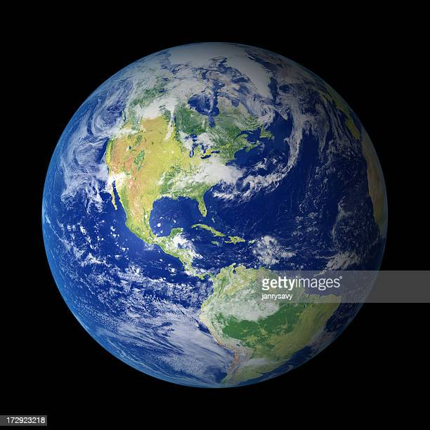 view of earth from outer space with north america visible - world map stock photos and pictures