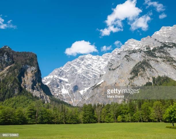 View of eastern slope of the Watzmann, snow melt, Berchtesgadener Land, Upper Bavaria, Bavaria, Germany