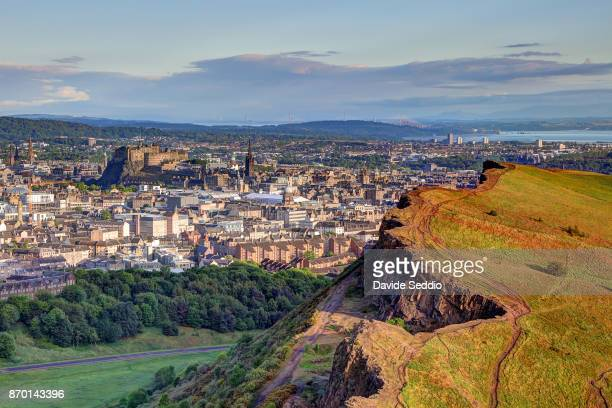View of Edinburg old town and castle from Arthur's Seat