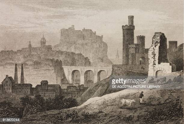 View of Edinburgh Scotland United Kingdom engraving by Schroeder from Angleterre Ecosse et Irlande Volume IV by Leon Galibert and Clement Pelle...