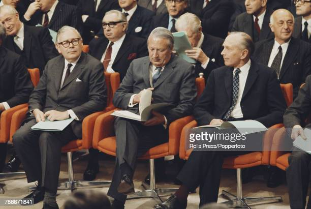 View of Edward Heath Prime Minister of the United Kingdom seated with Geoffrey Rippon Minister for European Affairs and Foreign Minister Alec...
