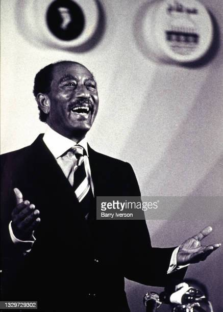 View of Egyptian President Anwar Sadat as he delivers a May Day speech, Cairo, Egypt, May 1, 1980.