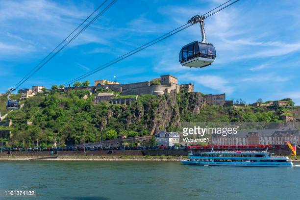 view of ehrenbreitstein fortress with river rhine, koblenz, germany - コブレンツ ストックフォトと画像