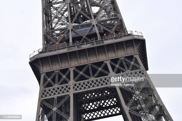 View of Eiffel Tower is seen after it was evacuated over a bomb threat in Paris, France on September 23, 2020.