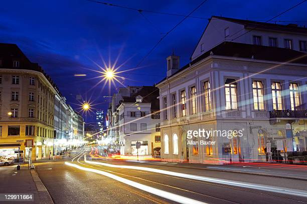 view of eisengasse street at night - basel switzerland stock pictures, royalty-free photos & images