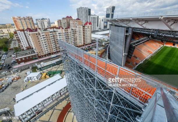 A view of Ekaterinburg Arena in Yekaterinburg on May 24 2018 The 35000seater stadium will host four group matches of the 2018 FIFA World Cup