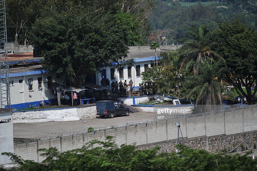 View of 'El Boqueron' maximum security prison taken May 20, 2010, in Santa Rosa, some 90 km east of Guatemala City. The warden and three guards were taken hostage on Thursday by prisoners belonging to the infamous Mara Salvatrucha gang, police said. AFP PHOTO/Johan ORDONEZ.