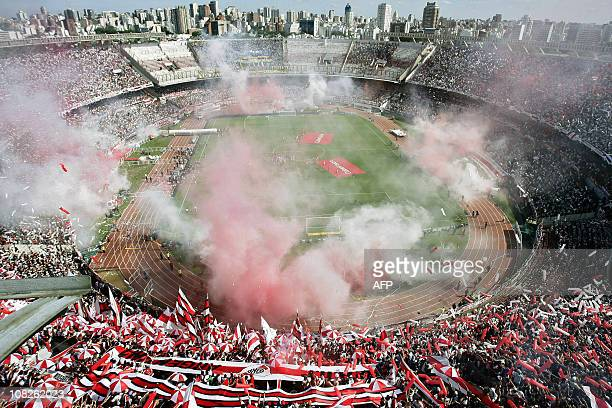 """View of """"El Monumental"""" stadium in Buenos Aires on October 19 before the start of Argentina's first division football match between River Plate and..."""