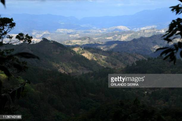 View of El Paraiso department 100 km east of Tegucigalpa Honduras on the border with Nicaragua where coffee crops are grown on February 10 2019...