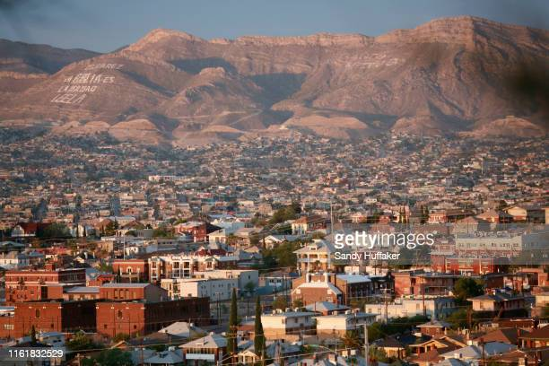 View of El Paso, Texas and Juarez, Mexico during a campaign re-launch for Democratic presidential candidate, former Rep. Beto O'Rourke on August 15,...