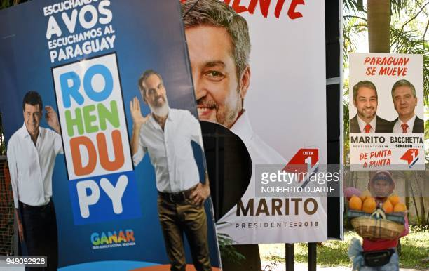 View of electoral propaganda posters of the presidential candidate for the Colorado party Mario Abdo Benitez and for the National Alliance Efrain...
