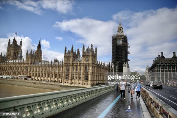 View of Elizabeth Tower as its hands discovered to be originally Prussian blue color on September 10, 2021 in London, United Kingdom. 96-metre-tall...