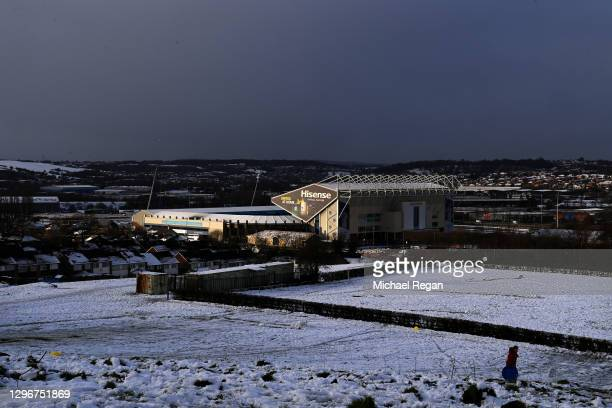 View of Elland road in the snow during the Premier League match between Leeds United and Brighton & Hove Albion at Elland Road on January 16, 2021 in...