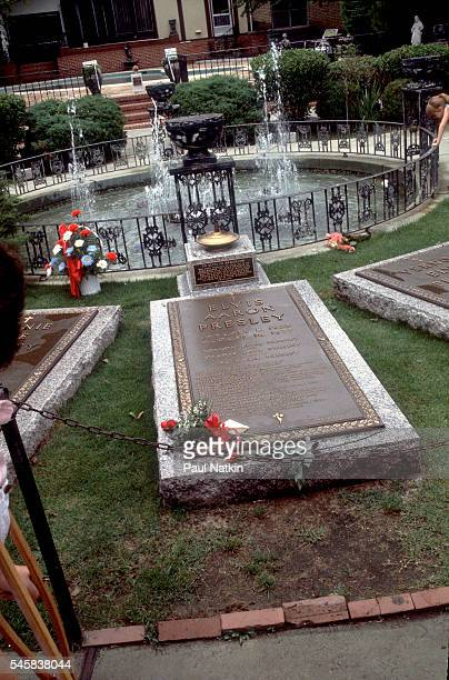 View of Elvis Presley's grave on the grounds of his home Graceland Memphis Tennessee September 17 1994