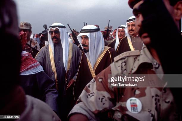 View of Emir of Kuwait Sheikh Jaber alAhmad alSabah among others as he returns home following his exile during the Gulf War Kuwait City Kuwait March...