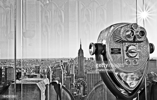 CONTENT] View of Empire State Building coin operated binoculars from Atop Rock