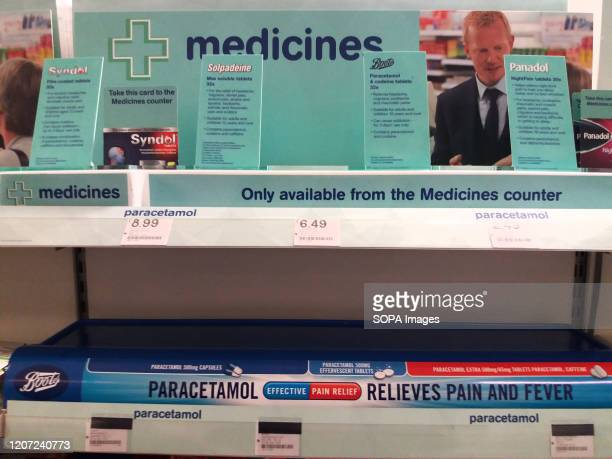 View of emptied paracetamol shelves at a supermarket amid covid19 Coronavirus fears in London