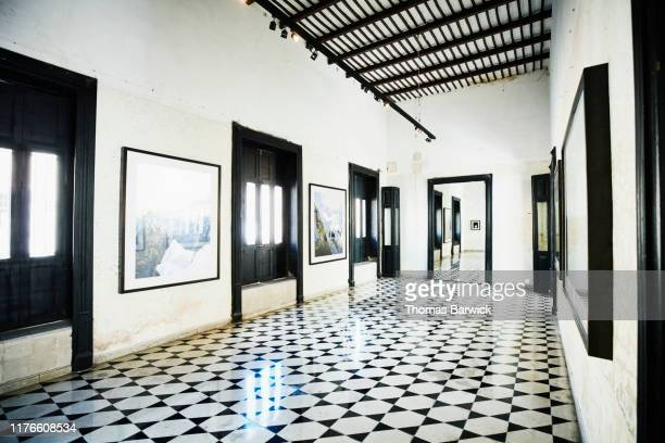 view of empty art gallery - exhibition stock pictures, royalty-free photos & images