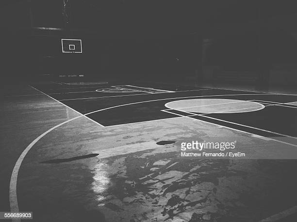 view of empty basketball stadium - basketball stadium stock pictures, royalty-free photos & images