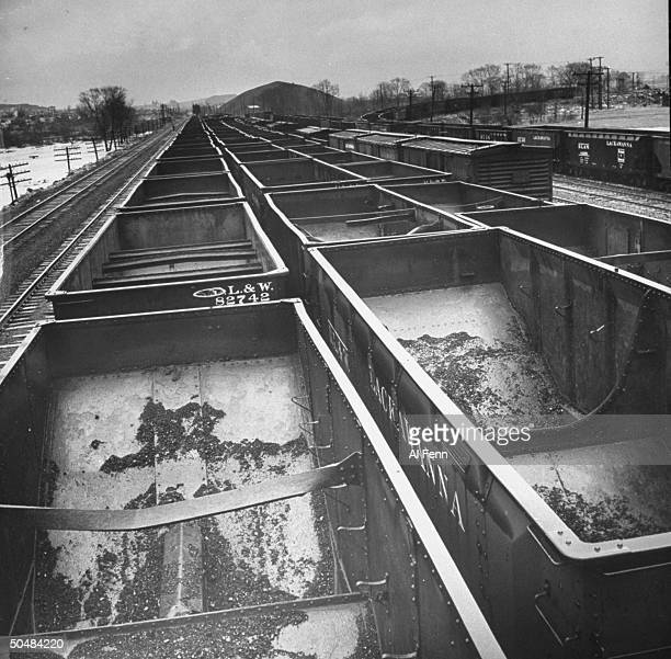 A view of empty coal cars from a story concerning a coal strike