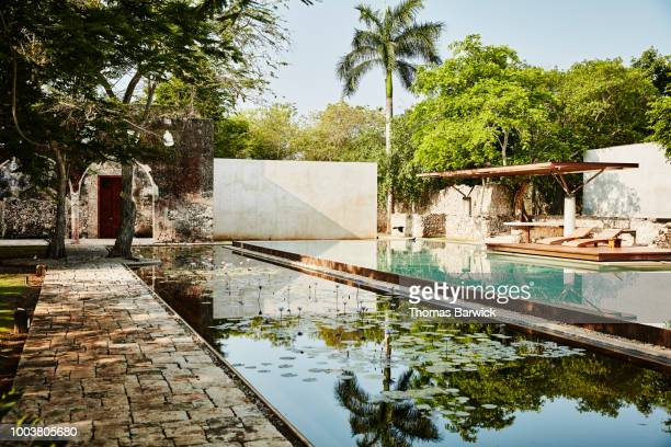 view of empty courtyard pool at luxury tropical resort - yucatan stock pictures, royalty-free photos & images