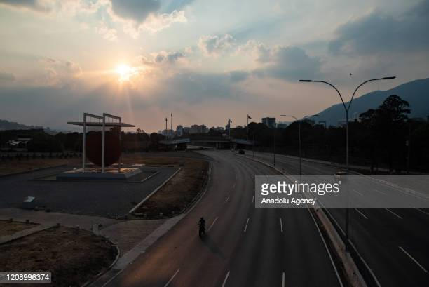 A view of empty Francisco Fajardo highway as a preventive measure against the new type of coronavirus pandemic in Caracas Venezuela on April 02 2020