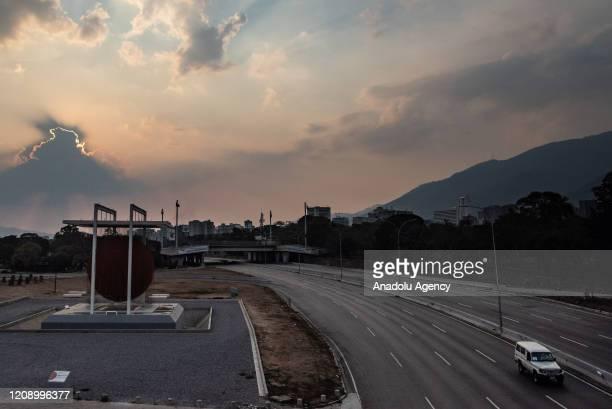 View of empty Francisco Fajardo highway as a preventive measure against the new type of coronavirus pandemic in Caracas, Venezuela on April 02, 2020.