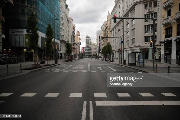 View of empty Gran Via street during the state of emergency by the government against the coronavirus outbreak in Madrid, Spain on April 5, 2020....