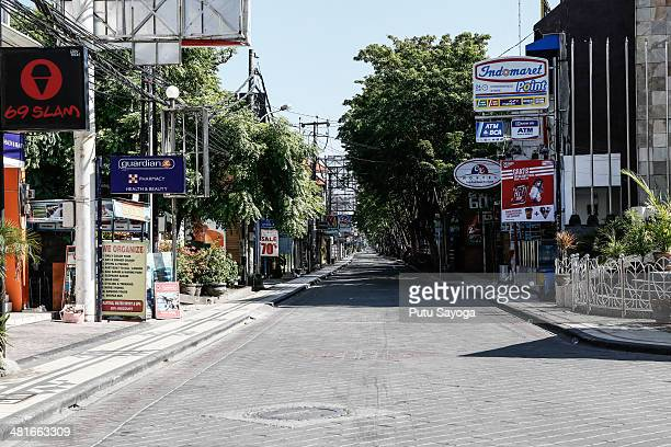 View of empty Legian Street during the observation of Nyepi on March 31 2014 in Kuta Bali Indonesia Nyepi or silence day is held annually to...