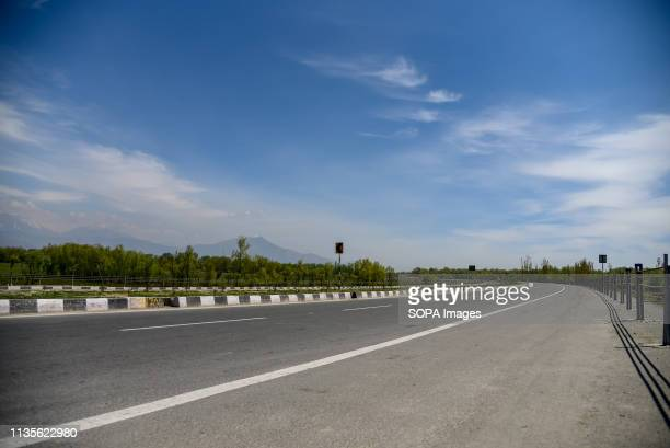 A view of Empty National Highway on the outskirts of Srinagar The Indian authorities on Wednesday April 3 banned civilian traffic movement on the...