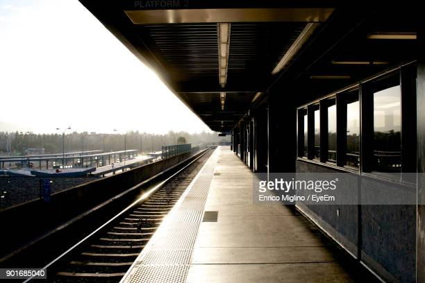 View Of Empty Railroad Station Platform